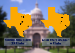 General map illustrating abortion-service clinics before and after HB2