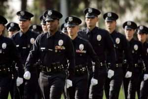 LOS ANGELES, CA. January 29, 2010 --- Graduating officers class of August 2009 march pass LAPD Chief Charlie Beck who presided over the graduation held LAPD Academy on January 29, 2010 in Los Angeles. (Irfan Khan/Los Angeles Times.)
